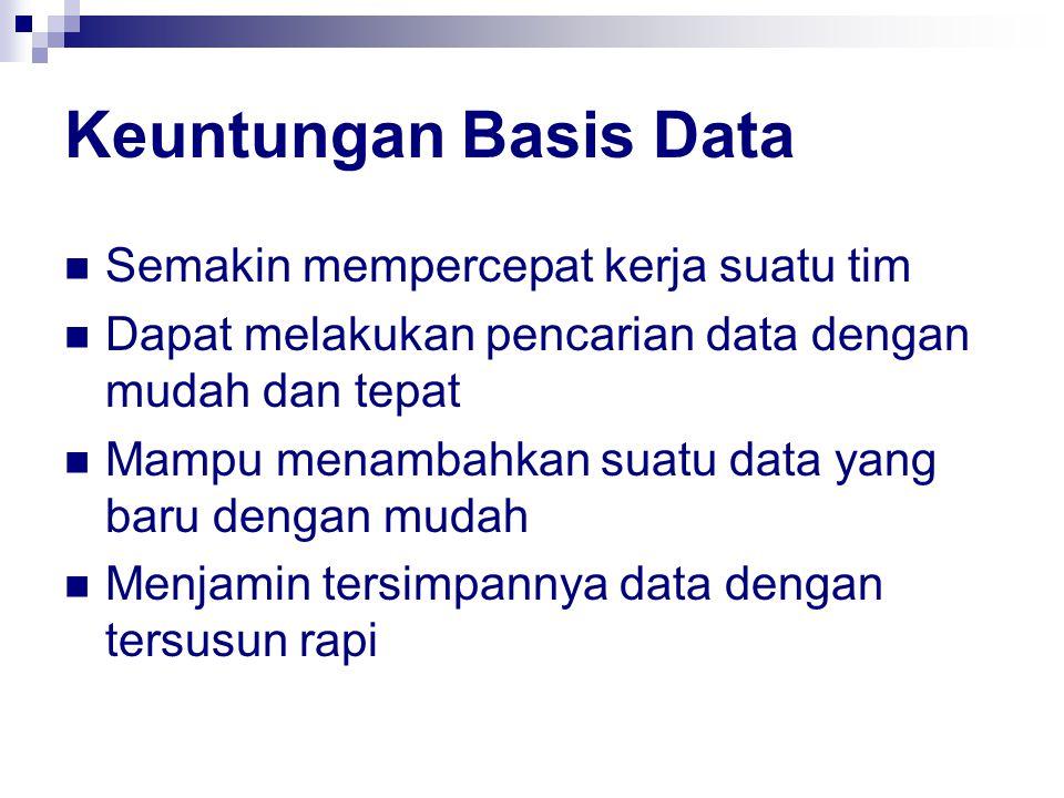 Keuntungan Basis Data Semakin mempercepat kerja suatu tim