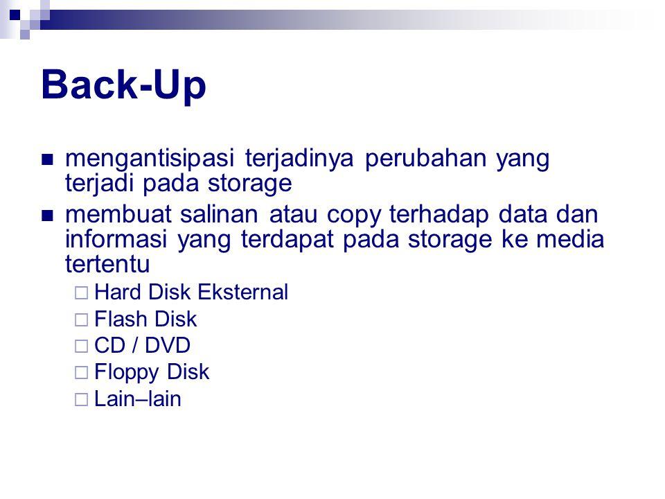 Back-Up mengantisipasi terjadinya perubahan yang terjadi pada storage