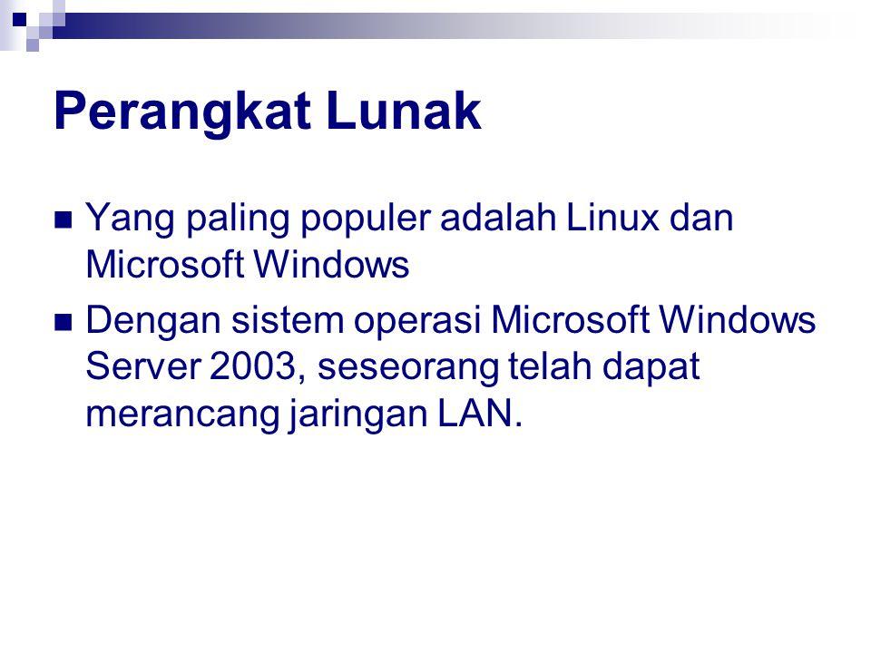 Perangkat Lunak Yang paling populer adalah Linux dan Microsoft Windows