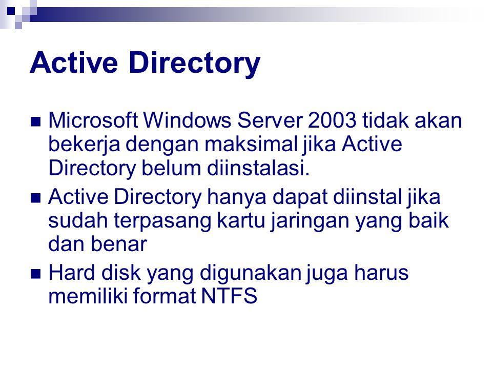 Active Directory Microsoft Windows Server 2003 tidak akan bekerja dengan maksimal jika Active Directory belum diinstalasi.