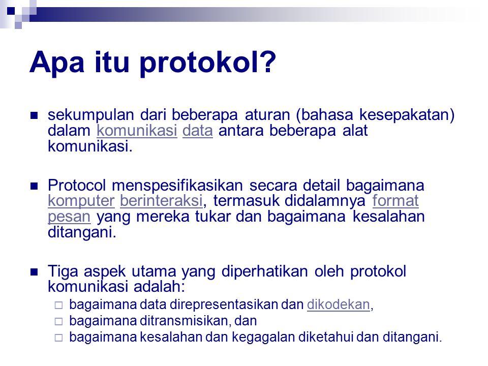 Apa itu protokol sekumpulan dari beberapa aturan (bahasa kesepakatan) dalam komunikasi data antara beberapa alat komunikasi.