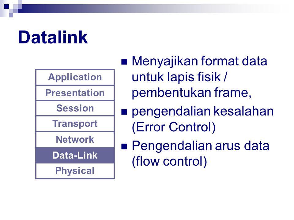 Datalink Menyajikan format data untuk lapis fisik / pembentukan frame,