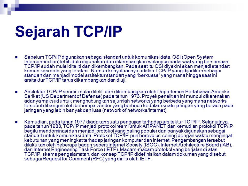 Sejarah TCP/IP