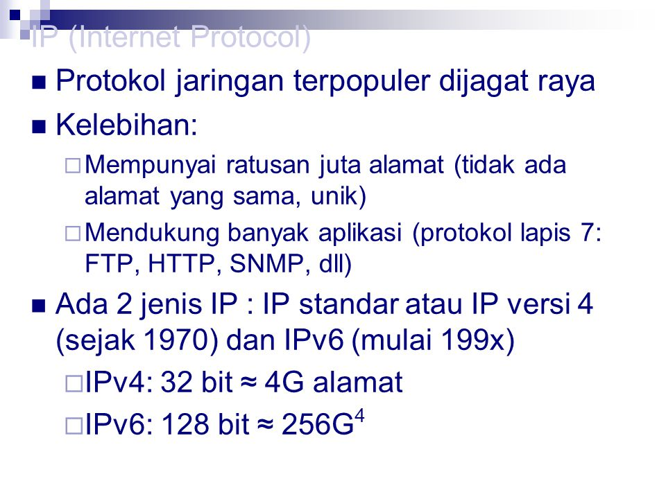 IP (Internet Protocol) Protokol jaringan terpopuler dijagat raya
