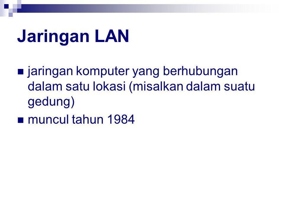 Jaringan LAN jaringan komputer yang berhubungan dalam satu lokasi (misalkan dalam suatu gedung) muncul tahun 1984.