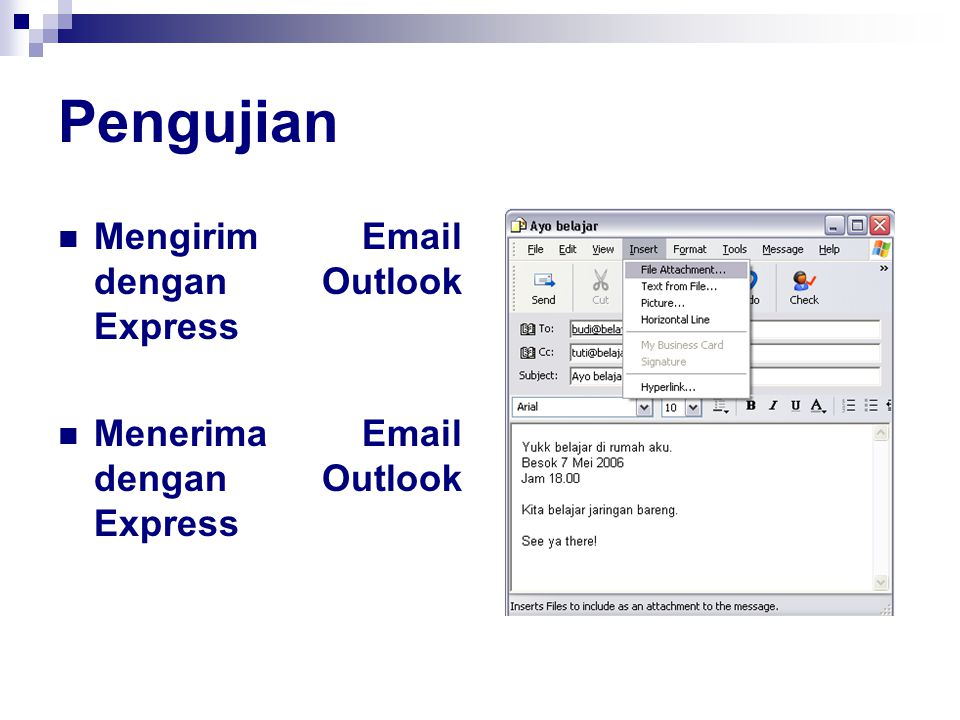 Pengujian Mengirim Email dengan Outlook Express