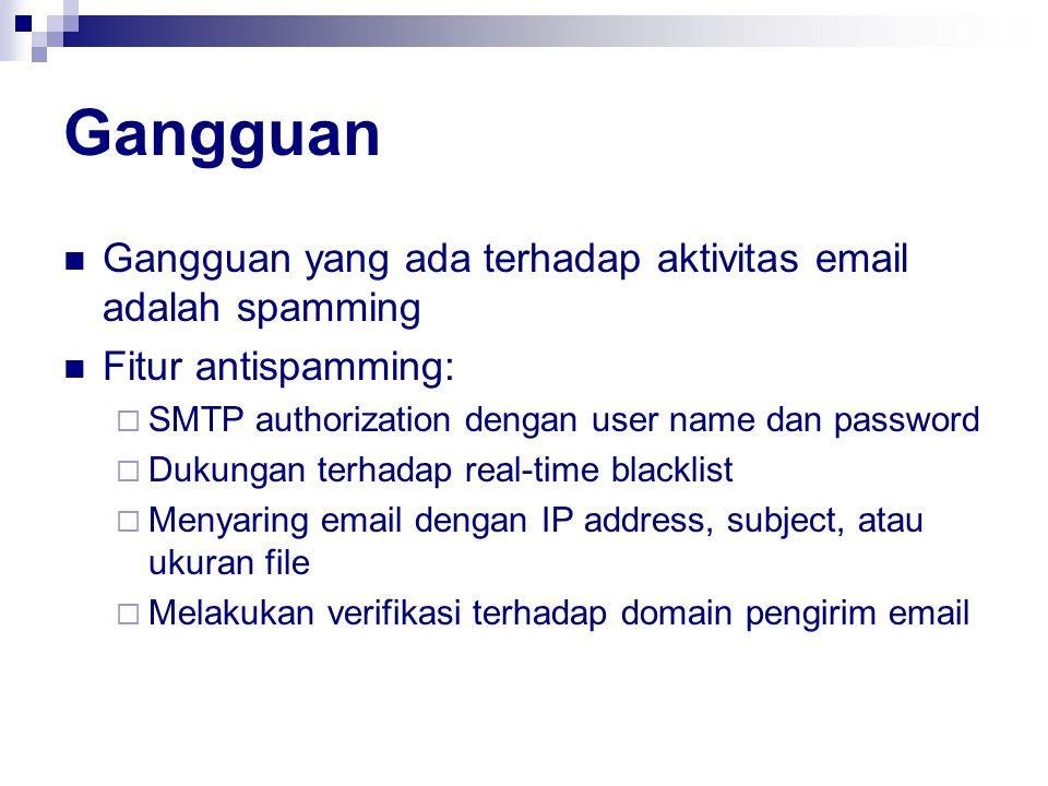 Gangguan Gangguan yang ada terhadap aktivitas email adalah spamming