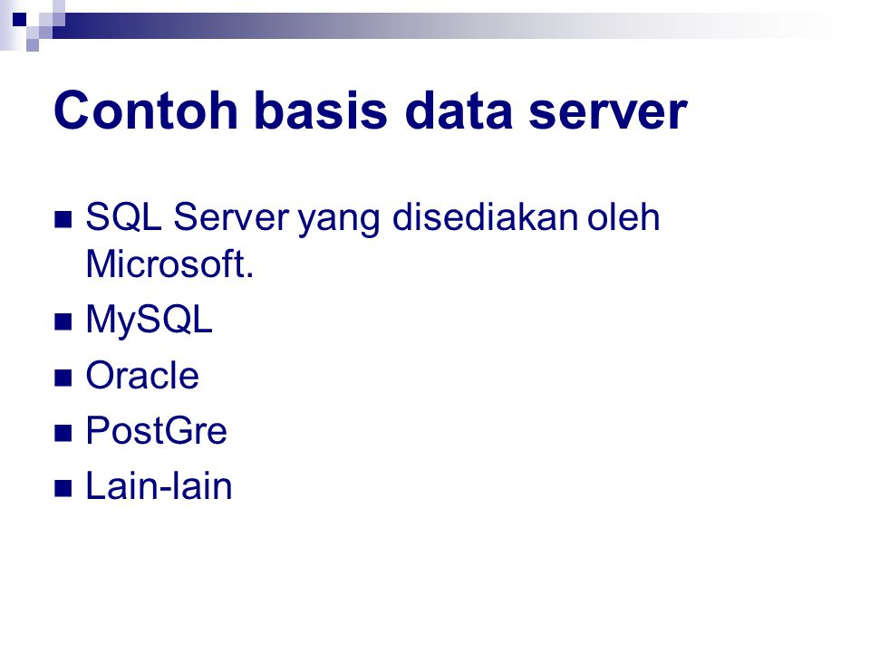 Contoh basis data server