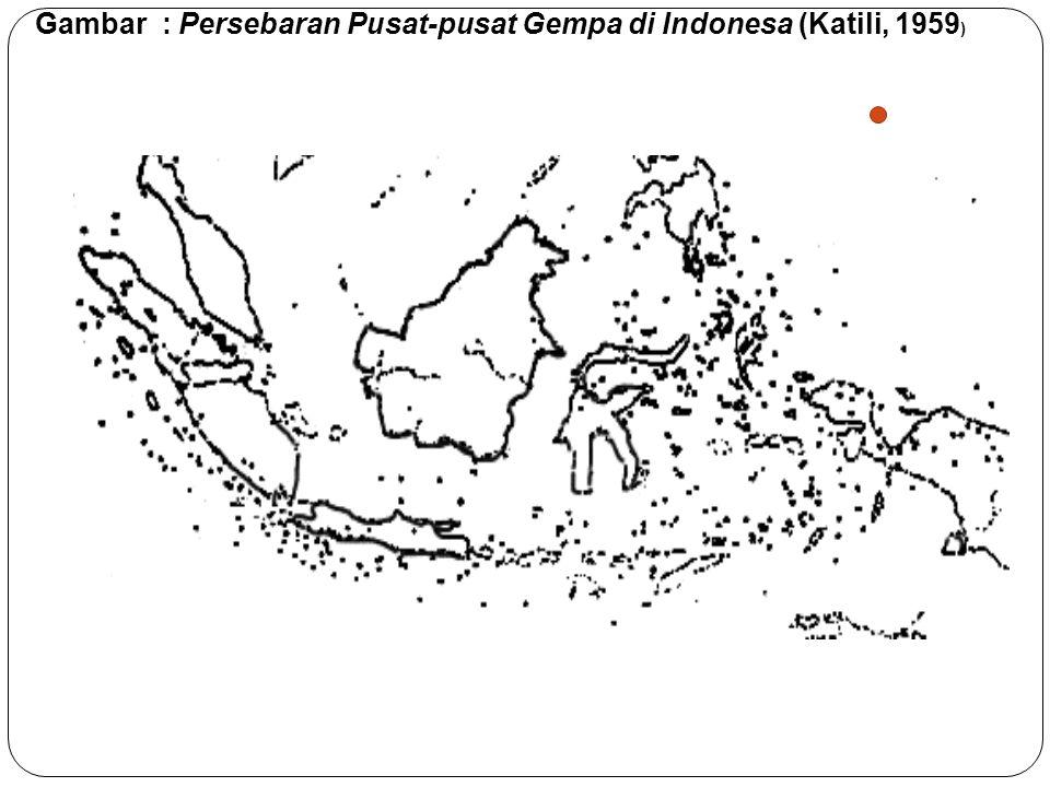 Gambar : Persebaran Pusat-pusat Gempa di Indonesa (Katili, 1959)