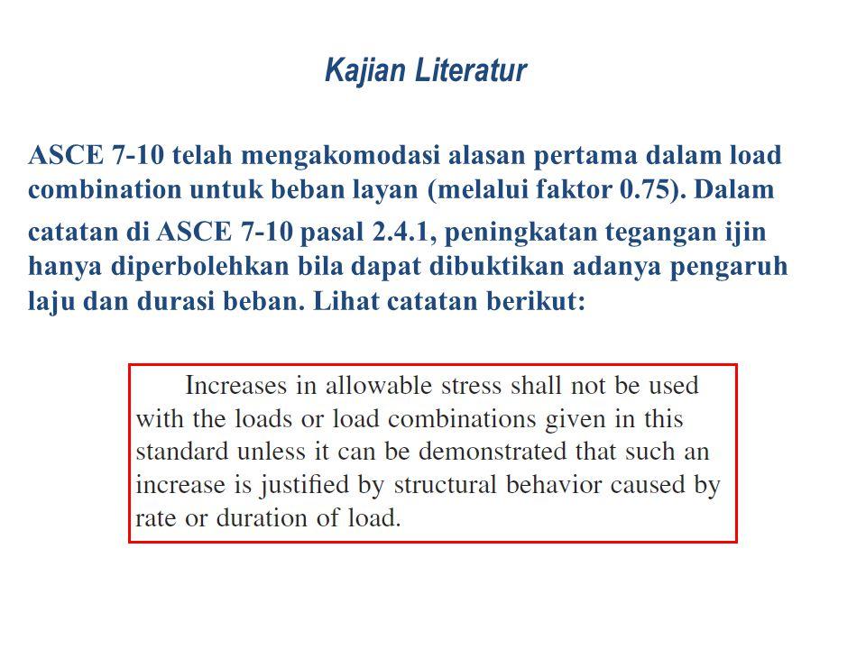 Kajian Literatur ASCE 7-10 telah mengakomodasi alasan pertama dalam load combination untuk beban layan (melalui faktor 0.75). Dalam.