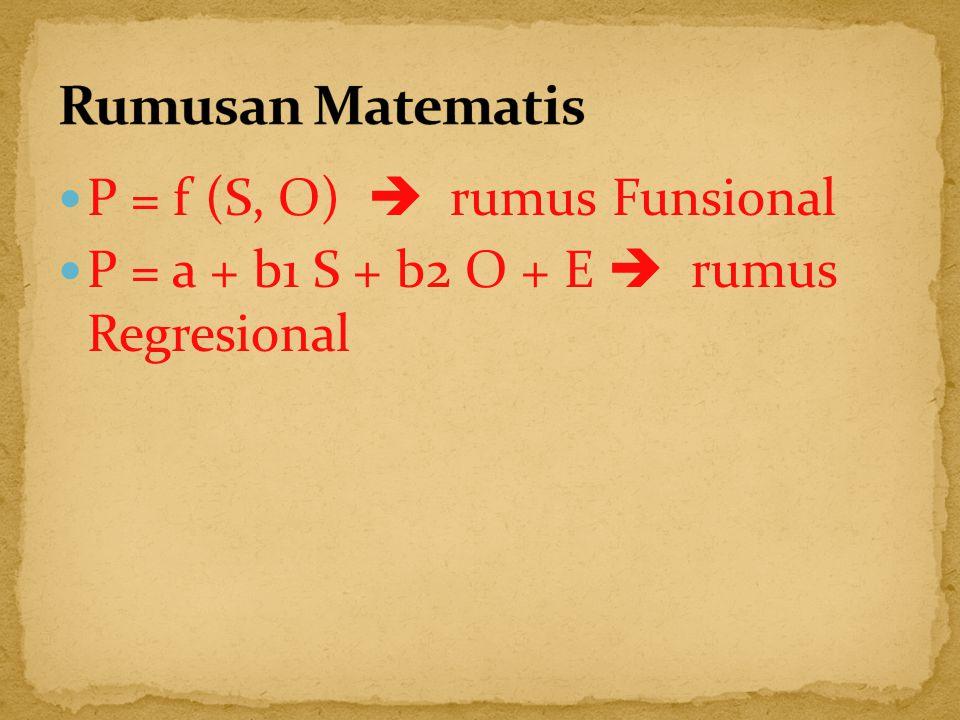 Rumusan Matematis P = f (S, O)  rumus Funsional