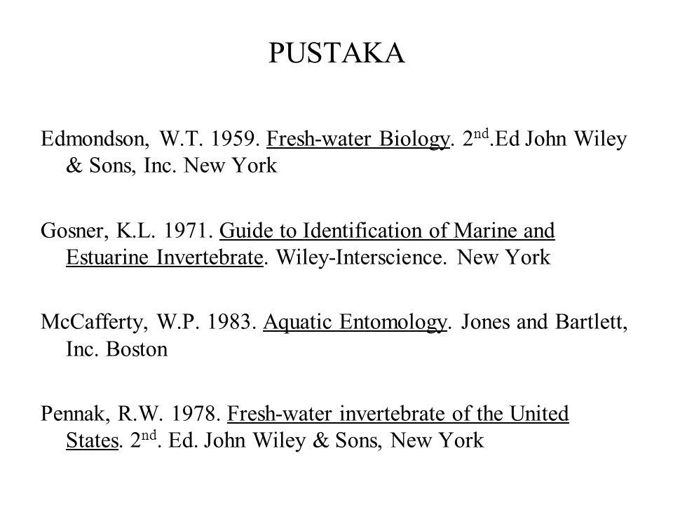 PUSTAKA Edmondson, W.T. 1959. Fresh-water Biology. 2nd.Ed John Wiley & Sons, Inc. New York.