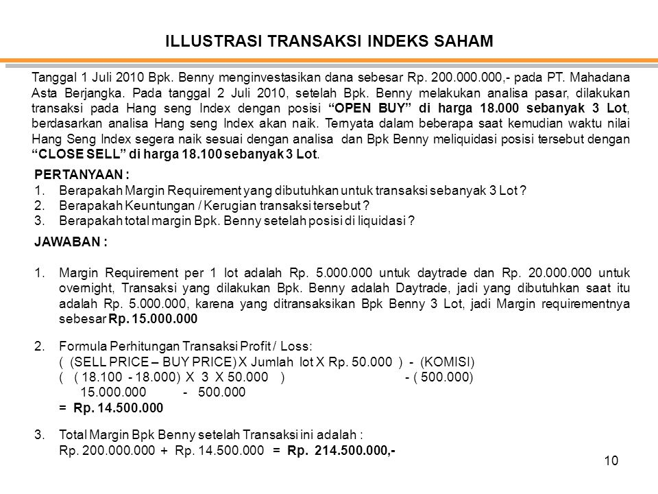ILLUSTRASI TRANSAKSI INDEKS SAHAM