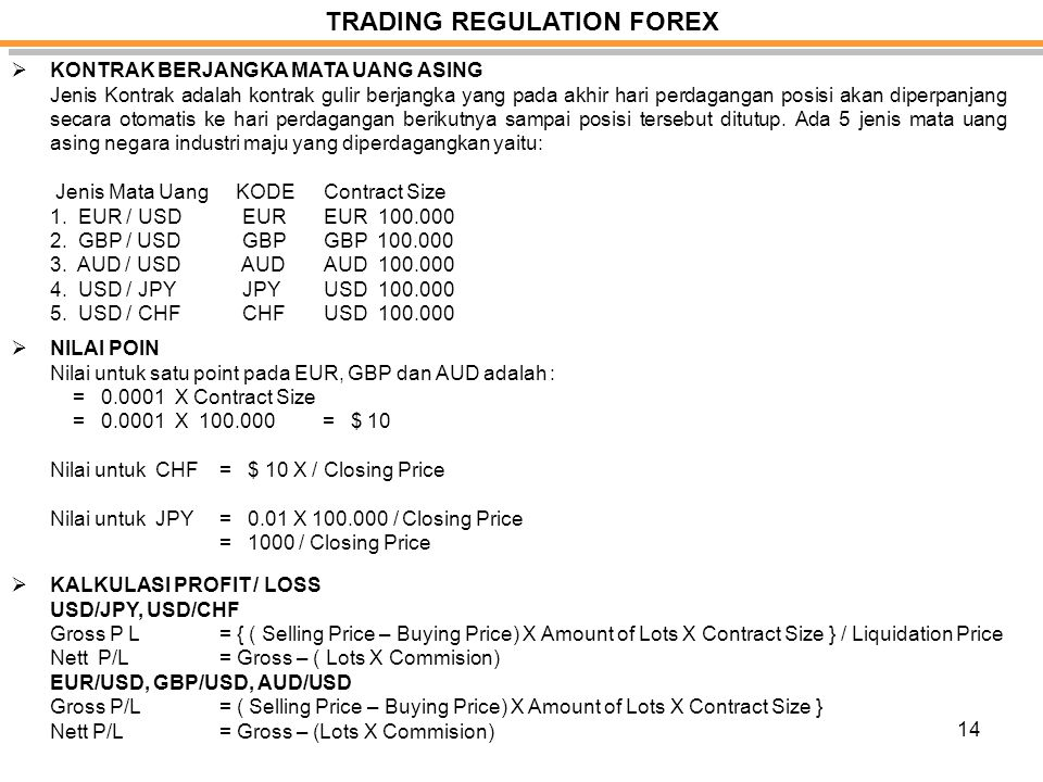 TRADING REGULATION FOREX