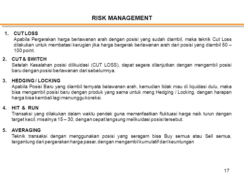 RISK MANAGEMENT CUT LOSS