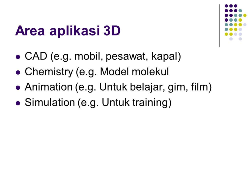 Area aplikasi 3D CAD (e.g. mobil, pesawat, kapal)