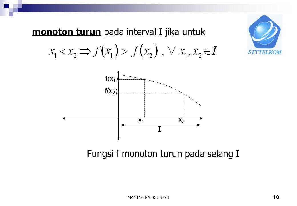 monoton turun pada interval I jika untuk