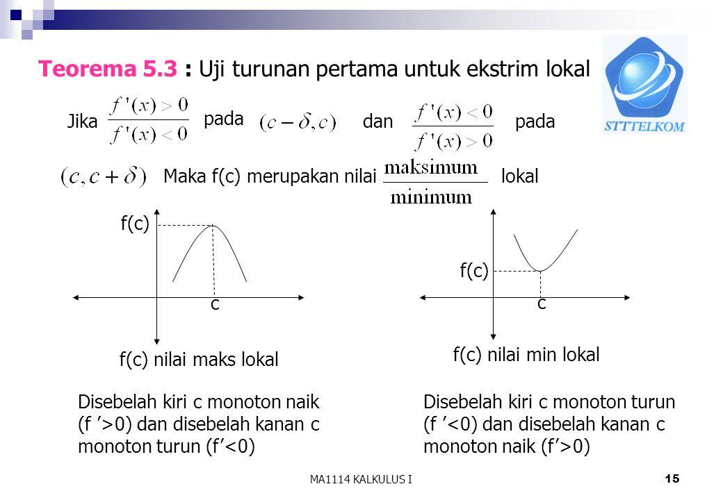 Teorema 5.3 : Uji turunan pertama untuk ekstrim lokal