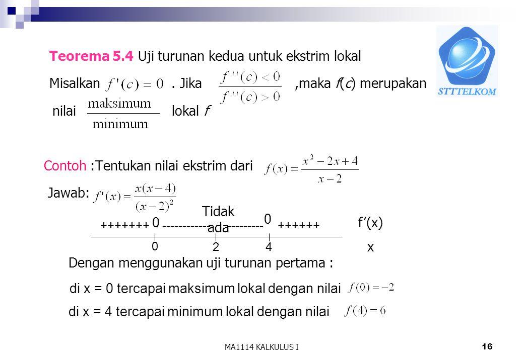 Misalkan . Jika ,maka f(c) merupakan nilai lokal f