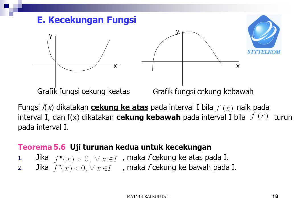 E. Kecekungan Fungsi Fungsi f(x) dikatakan cekung ke atas pada interval I bila naik pada.