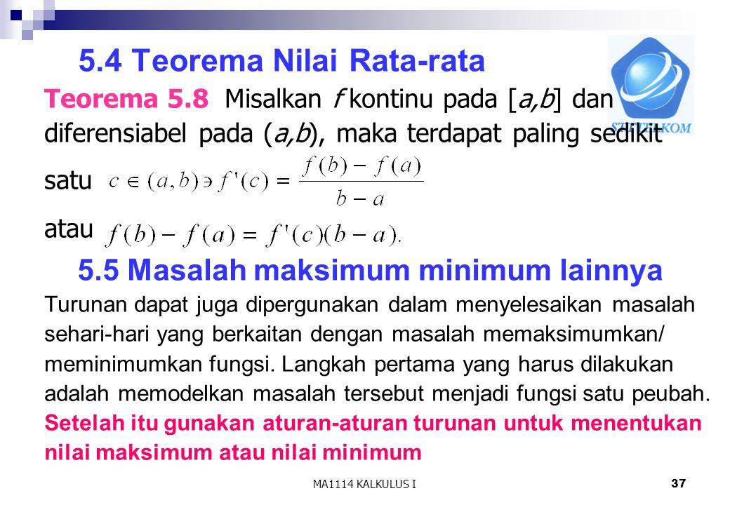 5.4 Teorema Nilai Rata-rata