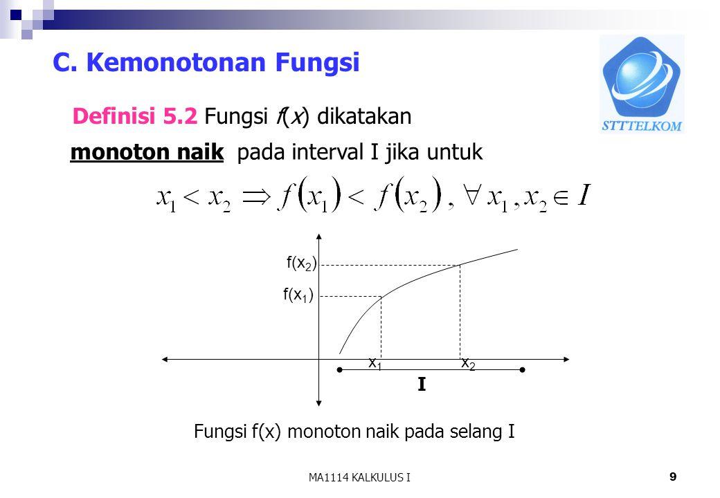 C. Kemonotonan Fungsi Definisi 5.2 Fungsi f(x) dikatakan