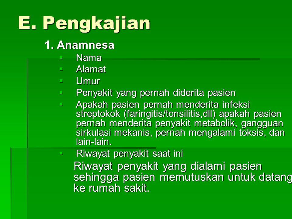 E. Pengkajian 1. Anamnesa. Nama. Alamat. Umur. Penyakit yang pernah diderita pasien.
