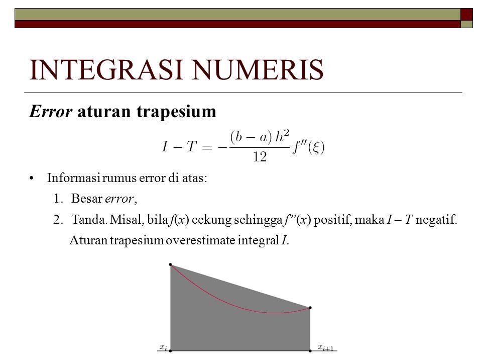 INTEGRASI NUMERIS Error aturan trapesium