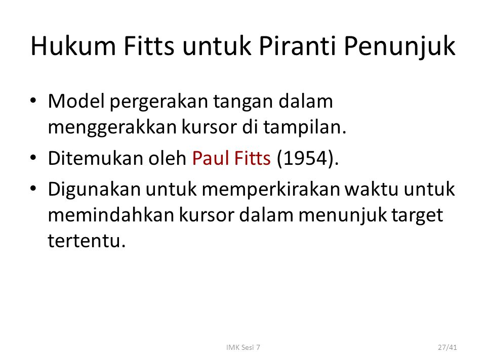 Hukum Fitts untuk Piranti Penunjuk