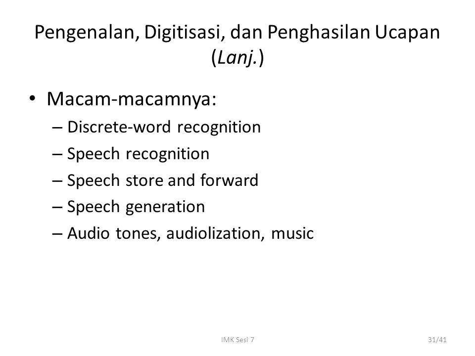 Pengenalan, Digitisasi, dan Penghasilan Ucapan (Lanj.)
