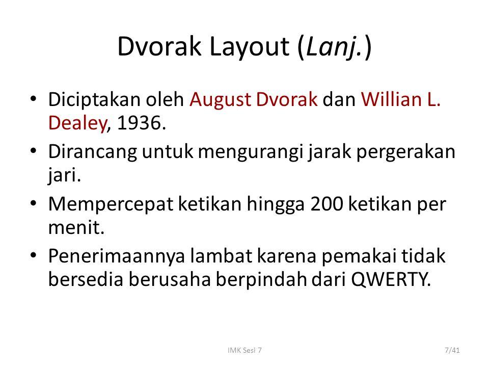 Dvorak Layout (Lanj.) Diciptakan oleh August Dvorak dan Willian L. Dealey, 1936. Dirancang untuk mengurangi jarak pergerakan jari.