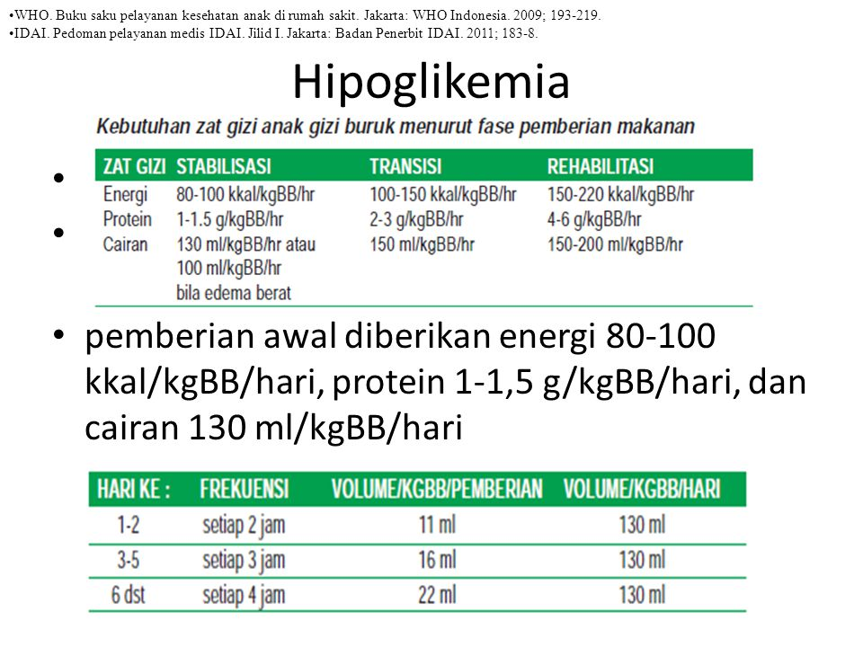 Hipoglikemia Semua pasien gizi buruk berisiko