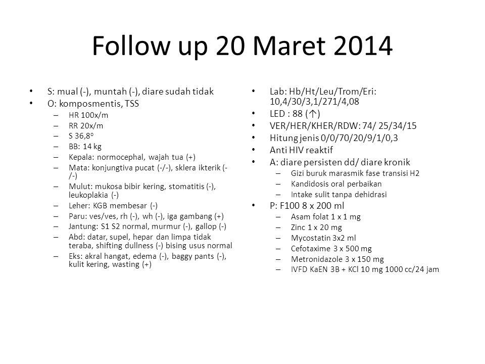 Follow up 20 Maret 2014 S: mual (-), muntah (-), diare sudah tidak