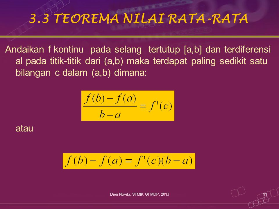 3.3 TEOREMA NILAI RATA-RATA