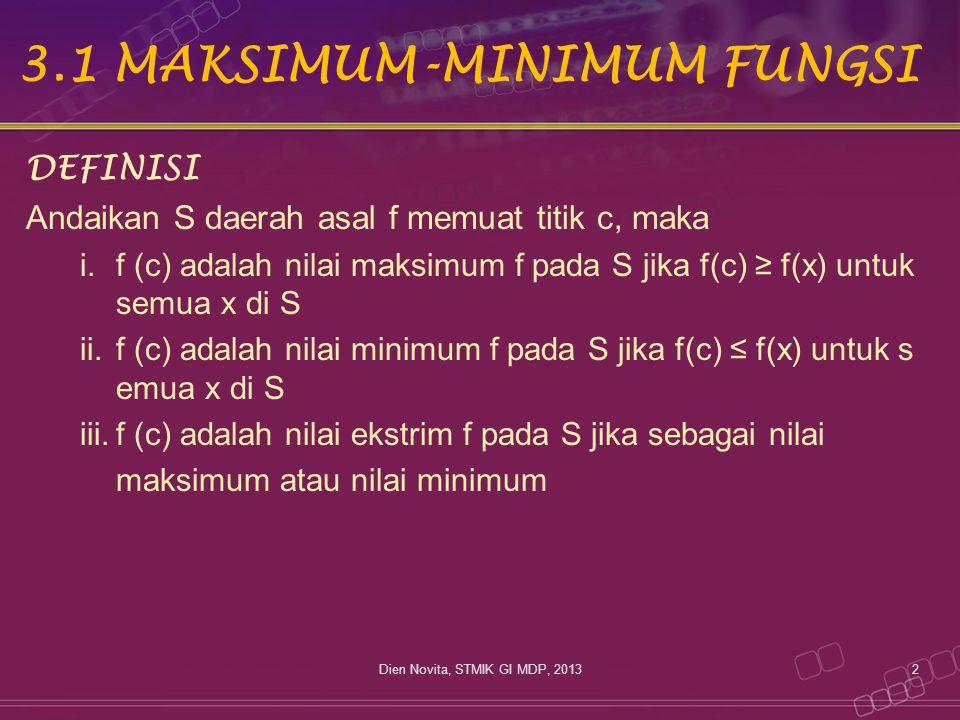 3.1 MAKSIMUM-MINIMUM FUNGSI