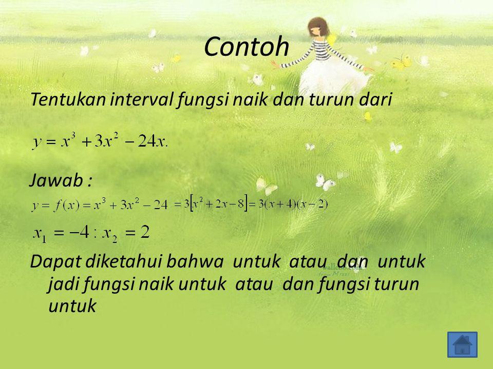 Contoh Tentukan interval fungsi naik dan turun dari Jawab :