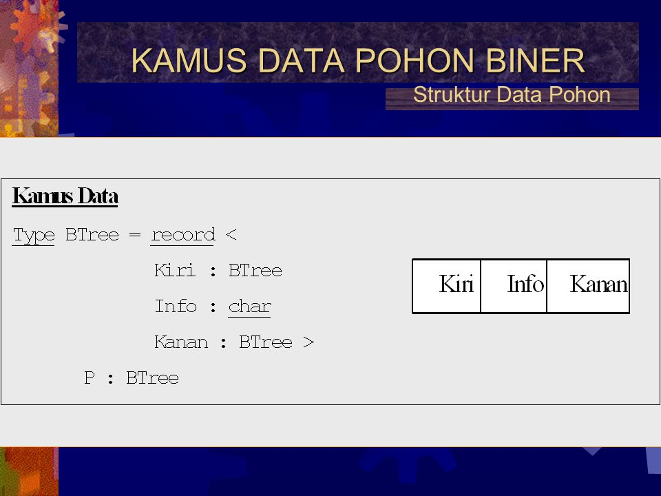 KAMUS DATA POHON BINER Struktur Data Pohon