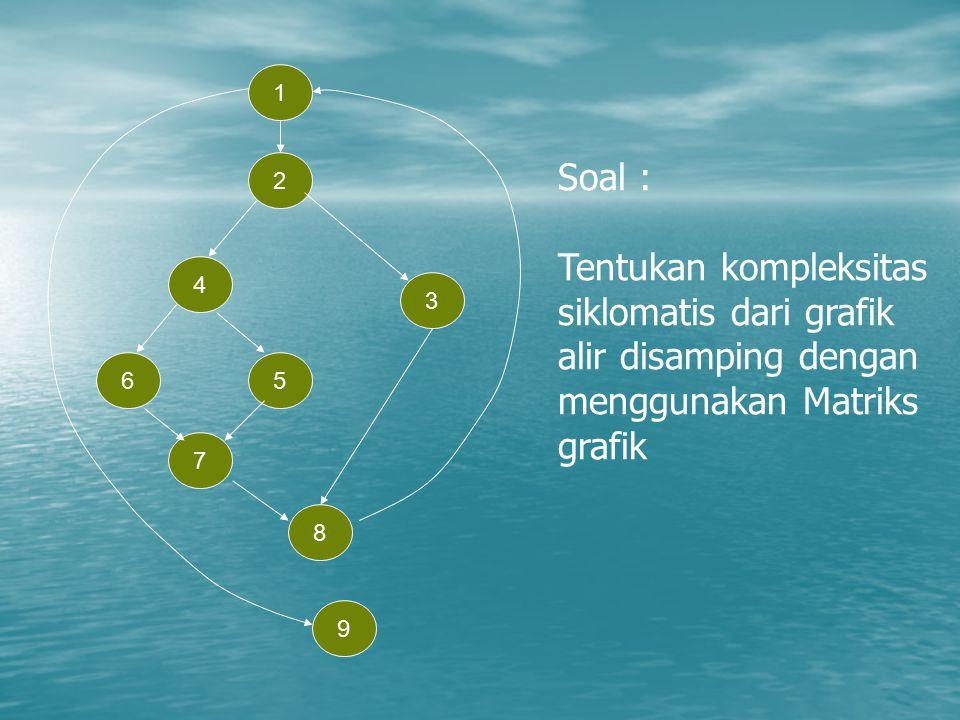 1 2. Soal : Tentukan kompleksitas siklomatis dari grafik alir disamping dengan menggunakan Matriks grafik.