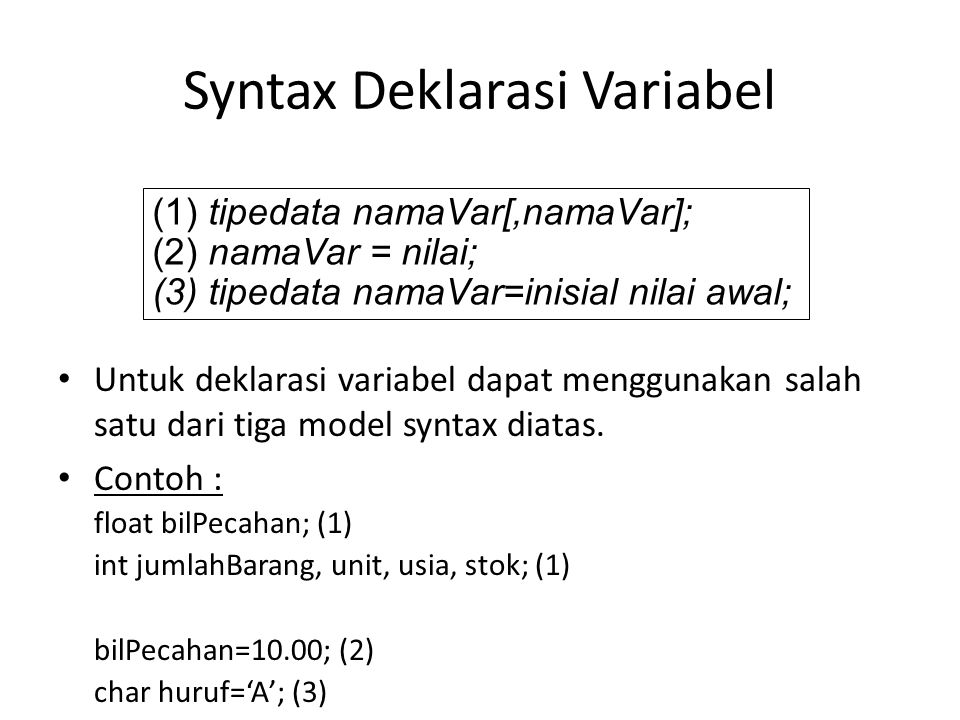 Syntax Deklarasi Variabel