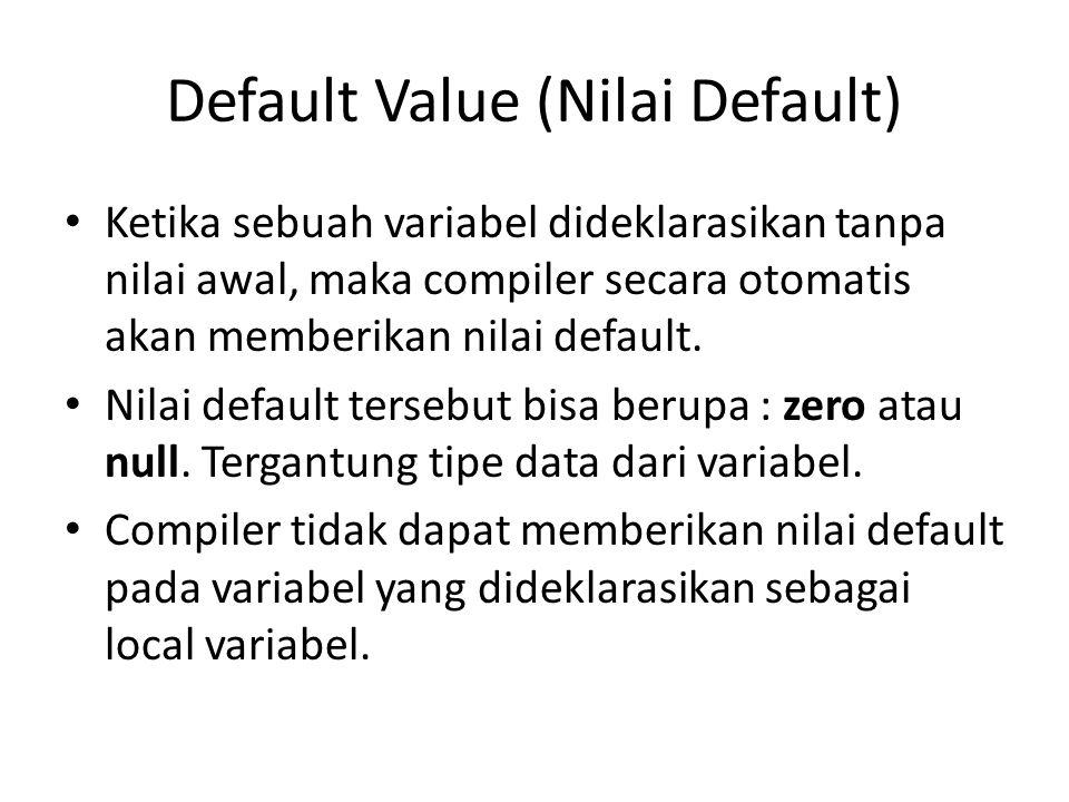 Default Value (Nilai Default)