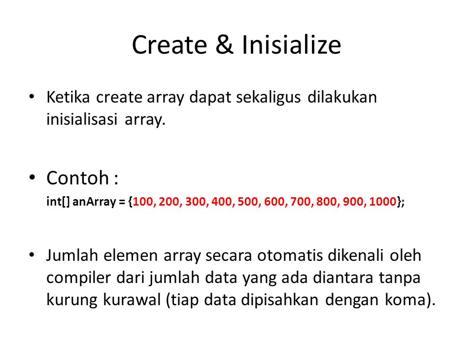 Create & Inisialize Contoh :