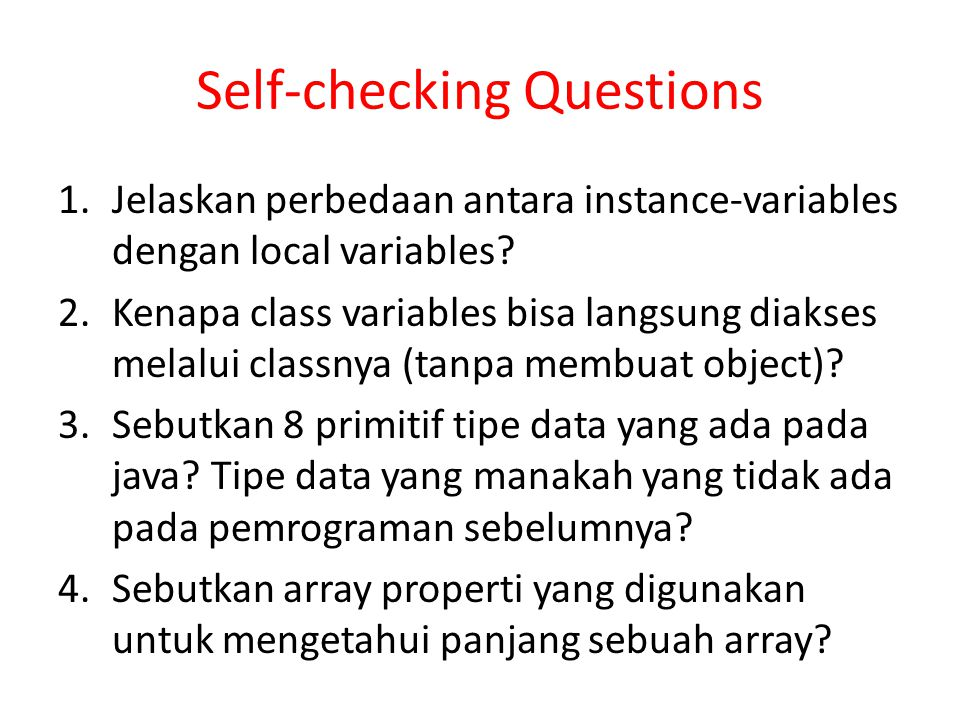 Self-checking Questions