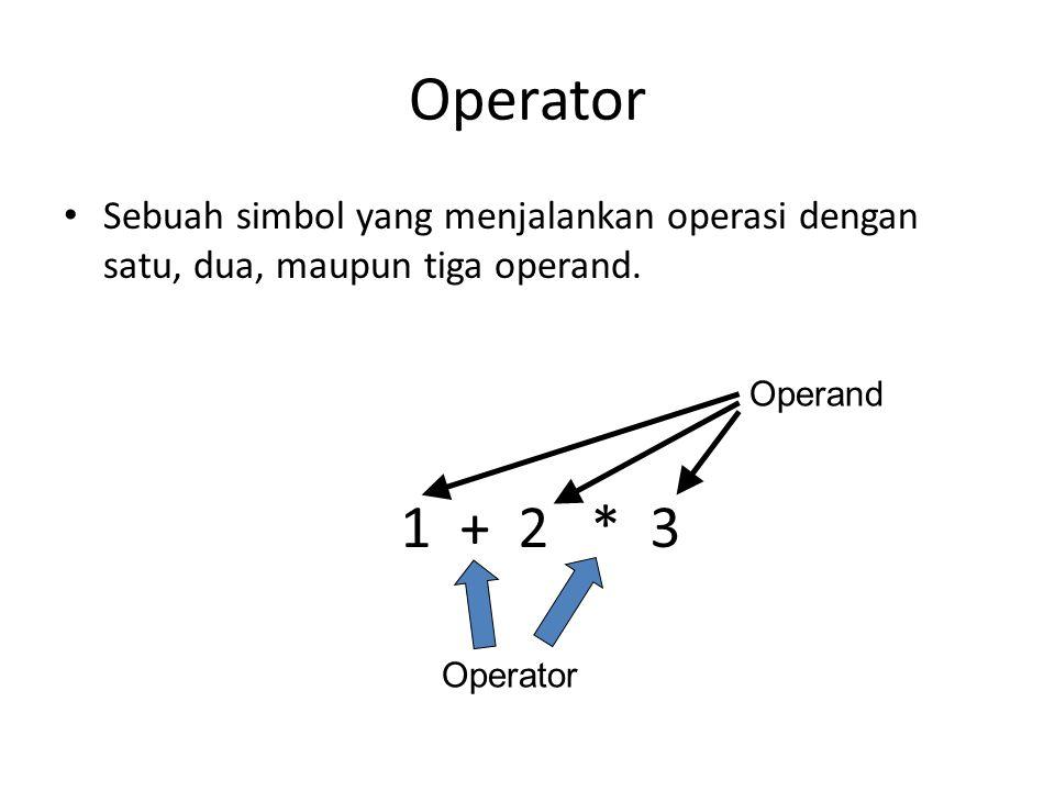 Operator Sebuah simbol yang menjalankan operasi dengan satu, dua, maupun tiga operand. 1 + 2 * 3.