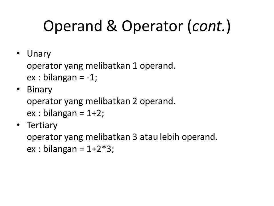 Operand & Operator (cont.)