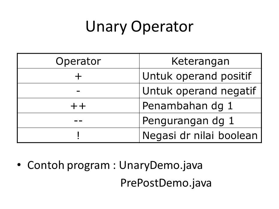 Unary Operator Contoh program : UnaryDemo.java PrePostDemo.java