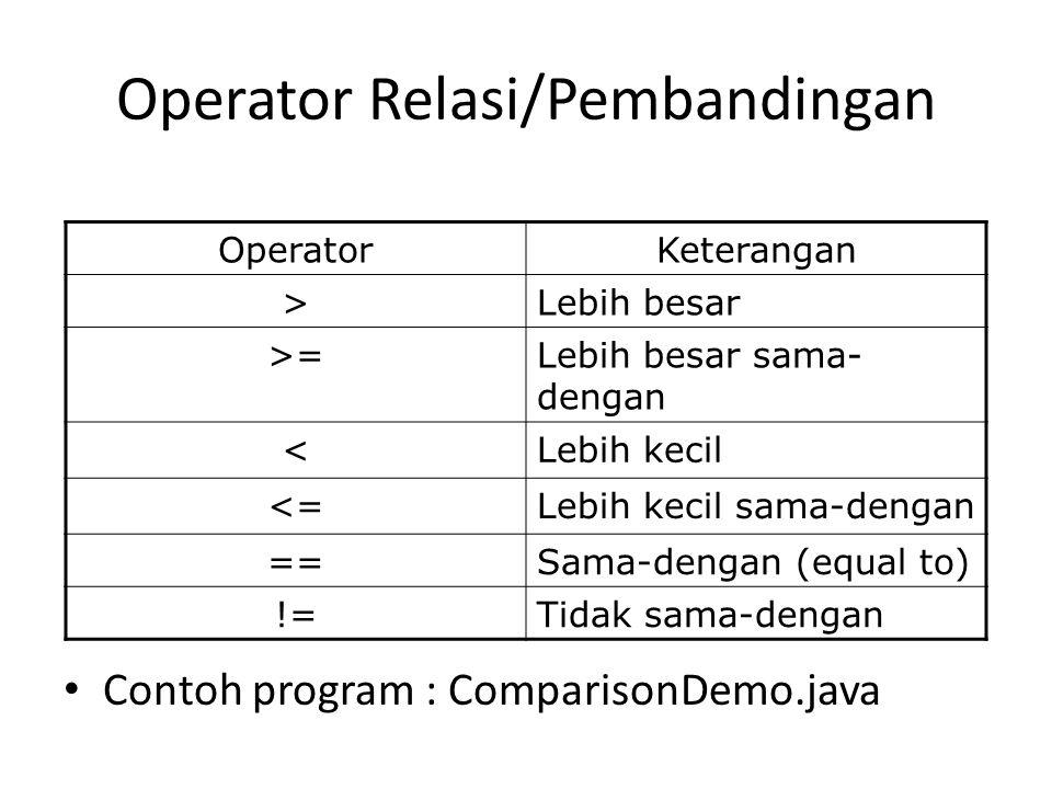 Operator Relasi/Pembandingan