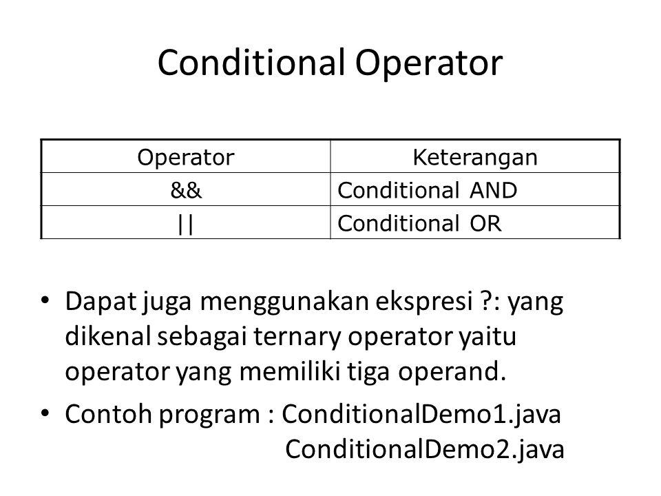 Conditional Operator Operator. Keterangan. && Conditional AND. || Conditional OR.