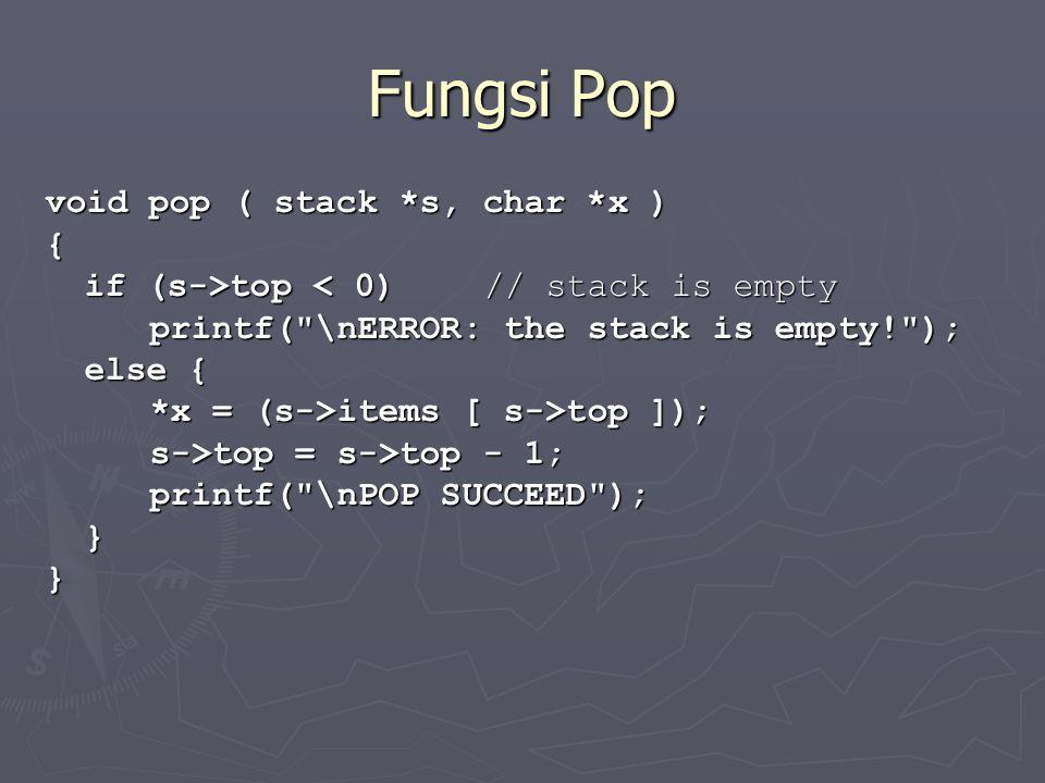 Fungsi Pop void pop ( stack *s, char *x ) {
