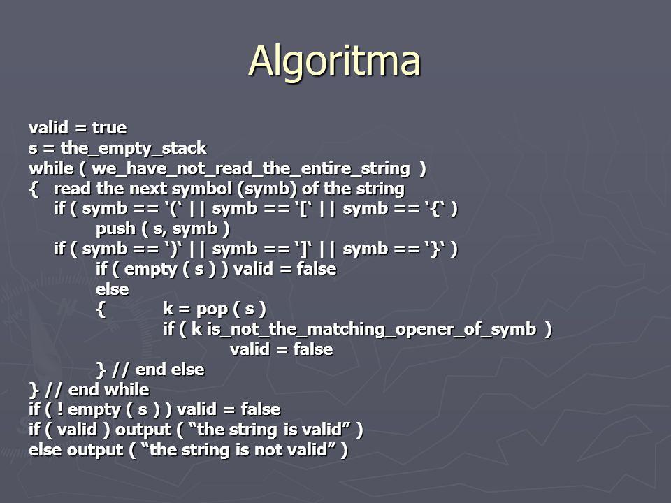 Algoritma valid = true s = the_empty_stack