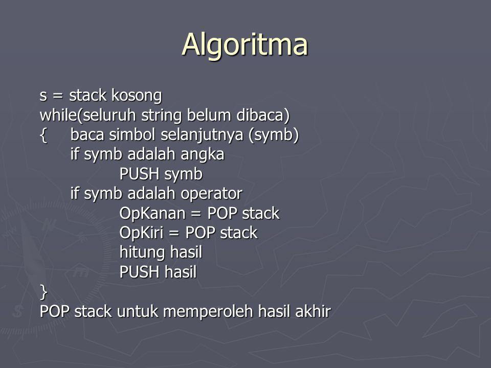 Algoritma s = stack kosong while(seluruh string belum dibaca)